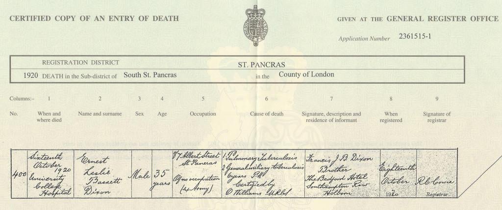 Ernest L B Dixon death certificate